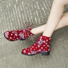 Femmes Toile Talon plat Chaussures plates Bottes أحذية