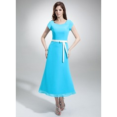 A-Line/Princess V-neck Tea-Length Chiffon Bridesmaid Dress With Sash Bow(s) (007001487)