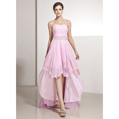 A-Line/Princess Sweetheart Asymmetrical Chiffon Holiday Dress With Beading Cascading Ruffles