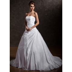 Ball-Gown Sweetheart Chapel Train Taffeta Wedding Dress With Ruffle Lace Beading Sequins