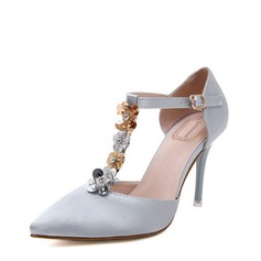 Женщины Атлас Высокий тонкий каблук Закрытый мыс На каблуках с Цветок