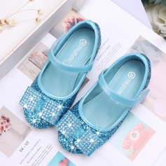 Girl's Closed Toe Leatherette Sparkling Glitter Flat Heel Flats Flower Girl Shoes With Bowknot Velcro