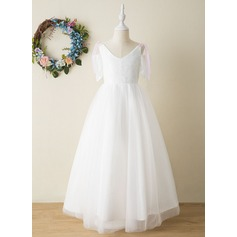 A-Line Floor-length Flower Girl Dress - Tulle/Lace Short Sleeves V-neck