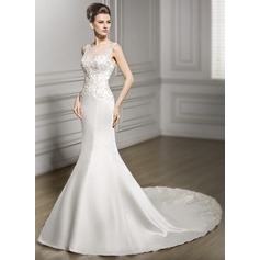 Trumpet/Mermaid Scoop Neck Chapel Train Satin Lace Wedding Dress With Beading Sequins (002056980)