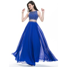 A-Line/Princess Scoop Neck Floor-Length Chiffon Prom Dress With Beading Sequins (018107793)