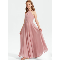 A-Line Square Neckline Floor-Length Chiffon Junior Bridesmaid Dress With Ruffle