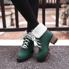 Women's Suede Chunky Heel Boots Mid-Calf Boots With Lace-up shoes