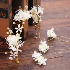 Hermoso Flores de seda/Plástico Diademas (Juego de 4)