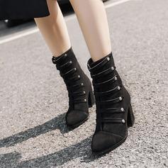Naisten Mokkanahka Chunky heel Avokkaat Nilkkurit jossa Vetoketju Button kengät