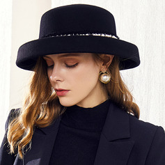 Damer' Klassisk stil/Enkel/Söt/Hög Kvalitet Ull med Fauxen Pärla Diskett Hat