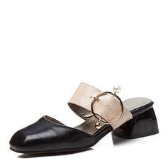Donna Pelle verniciata Tacco spesso Sandalo Punta chiusa Ciabatte con Fibbia Spalline intrecciate scarpe