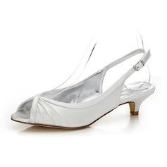 Kadın Saten Alçak Topuk Peep Toe Arkası açık iskarpin Boyanabilir ayakkabılar