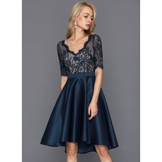 A-Line/Princess V-neck Asymmetrical Satin Cocktail Dress (016124565)