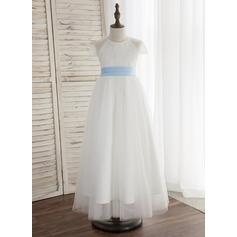 Forme Princesse Longueur cheville Robes à Fleurs pour Filles - Tulle/Dentelle Sans manches Col rond avec Plissée (bande détachable)