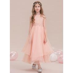 A-Linie U-Ausschnitt Knöchellang Organza Kleider für junge Brautjungfern mit Perlstickerei Pailletten