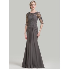 Sheath/Column Scoop Neck Floor-Length Chiffon Mother of the Bride Dress With Ruffle Appliques Lace