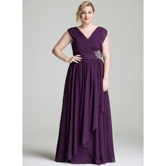 A-Line/Princess V-neck Floor-Length Chiffon Mother of the Bride Dress With Beading Sequins Cascading Ruffles (008077016)