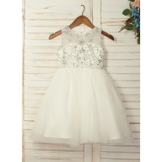 A-Line/Princess Knee-length Flower Girl Dress - Tulle Sleeveless Scoop Neck With Beading/Rhinestone (010130910)
