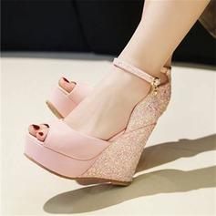 Vrouwen Kunstleer Wedge Heel Sandalen Pumps met Gesplitste Stof schoenen
