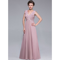 A-Line/Princess V-neck Floor-Length Chiffon Mother of the Bride Dress With Ruffle Lace Beading Sequins (008025768)