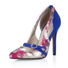 Kvinnor Konstläder Stilettklack Pumps Stängt Toe med Spänne skor