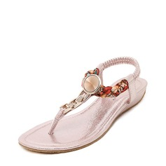 Women's Leatherette Flat Heel Sandals Flats Peep Toe With Rhinestone Braided Strap Elastic Band shoes