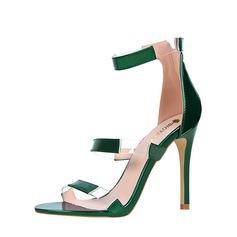 Vrouwen PVC PU Stiletto Heel Sandalen Pumps Peep Toe met Rits Gesplitste Stof schoenen
