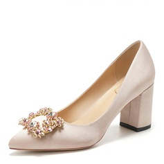 Women's Silk Like Satin Chunky Heel Closed Toe With Buckle Crystal