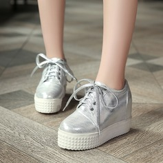 Women's Leatherette Wedge Heel Closed Toe Wedges With Lace-up shoes