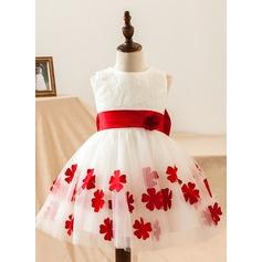 Corte A/Princesa Hasta la rodilla Vestidos de Niña Florista - Satén/Encaje Sin mangas Escote redondo con Encaje/Flores/Lazo(s)