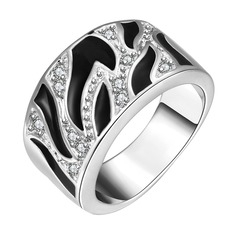 Shining Silver Plated Zircon Brass Ladies' Fashion Rings