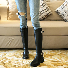 Women's Leatherette Low Heel Knee High Boots Snow Boots With Buckle Zipper shoes (088224500)