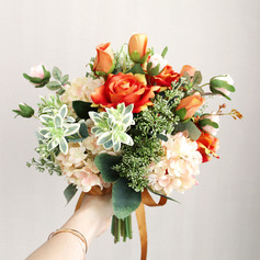 Classic Free-Form Silk Flower Bridal Bouquets -