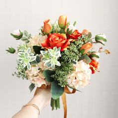 Klassische Art Freigeformt Seide Blumen Brautsträuße -