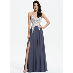 A-Line V-neck Floor-Length Chiffon Evening Dress With Lace Beading Sequins Split Front