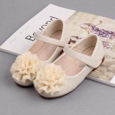 Mädchens Geschlossene Zehe Ballerinas Microfaser-Leder Flache Ferse Flache Schuhe Blumenmädchen Schuhe mit Klettverschluss Blume