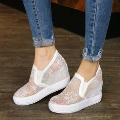 Kvinnor Spets Kilklack Kilar med Stitching Lace skor