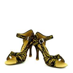 Женщины Кружева На каблуках Сандалии На каблуках Латино Обувь для танцев