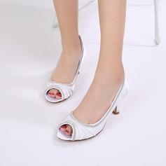 Women's Silk Like Satin Stiletto Heel Peep Toe Pumps With Rhinestone Ruffles Chain