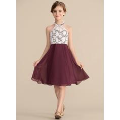 A-Line/Princess Scoop Neck Knee-Length Chiffon Lace Junior Bridesmaid Dress (009165014)