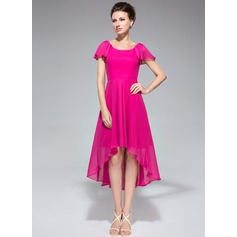 A-Line Scoop Neck Asymmetrical Chiffon Mother of the Bride Dress With Cascading Ruffles