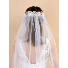 One-tier Cut Edge Fingertip Bridal Veils With Rhinestones/Faux Pearl