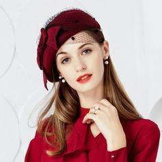 Damer' Elegant Ull med Tyll Basker Hat