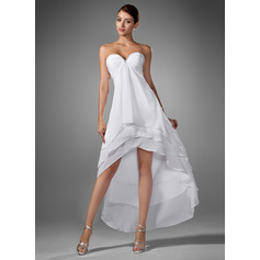 A-Line Sweetheart Asymmetrical Chiffon Homecoming Dress With Ruffle Beading (022003344)