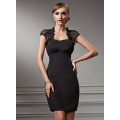 Sheath/Column Sweetheart Short/Mini Chiffon Lace Cocktail Dress (016021212)