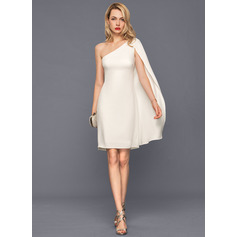 Sheath/Column One-Shoulder Knee-Length Stretch Crepe Cocktail Dress (016140384)