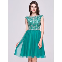 Vestidos princesa/ Formato A Decote redondo Coquetel Tule Vestido de boas vindas com Bordado Lantejoulas