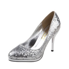 Leatherette Sparkling Glitter Stiletto Heel Pumps Closed Toe shoes