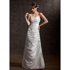 Princesový Véčkový výstřih Délka na zem Taffeta Svatební šaty S Volán Lace