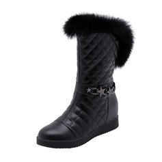 Women's Leatherette Low Heel Closed Toe Boots Mid-Calf Boots Snow Boots With Chain Fur shoes